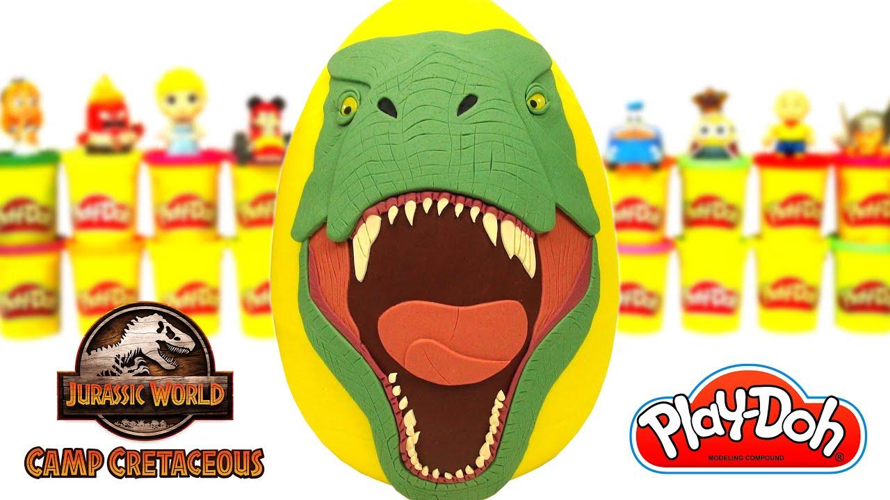 Ovo Surpresa Gigante Jurassic World Acampamento Jurássico em Português Brasil Massinha Play Doh