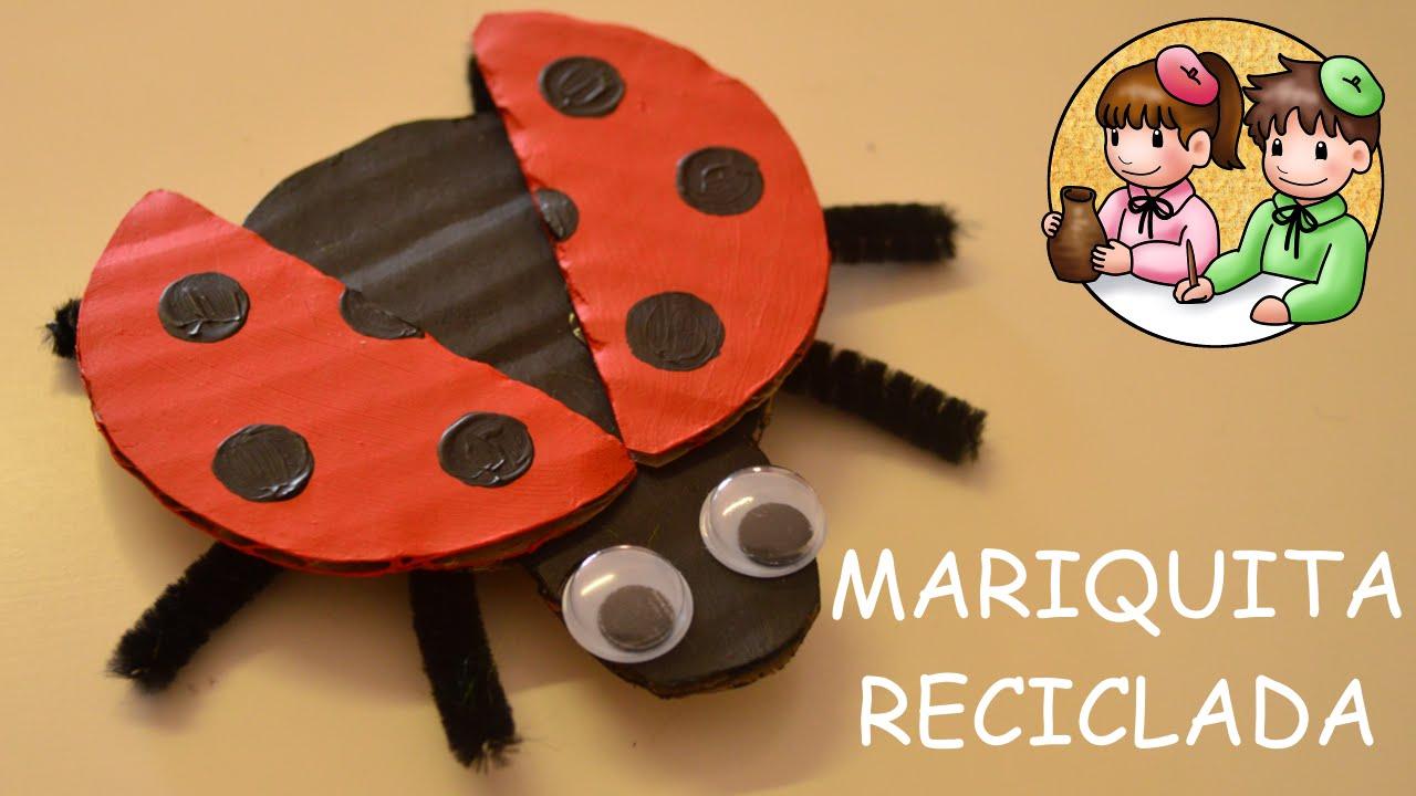 Mariquita con cart n reciclado actividades manuales - Bichos en casa fotos ...