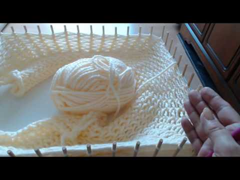 Pom pom blanket: LOOK... How to LOOM KNIT CHUNKY BABY BLANKETS on your frame. Nail or peg loom