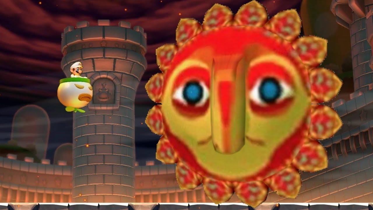 Super Mario Maker 2 Angry Sun Final Boss in New Super Mario Bros U Deluxe