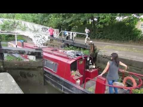 Grand Union Canal   Barge Going Through Locks near Hemel Hempstead Hertfordshire 01