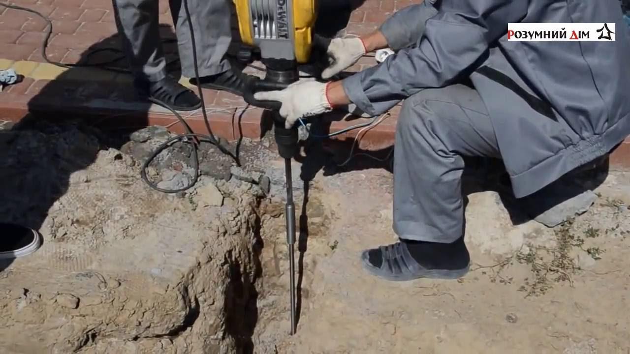 Монтаж заземления отбойным молотком  ZUVER 4.4 6 м
