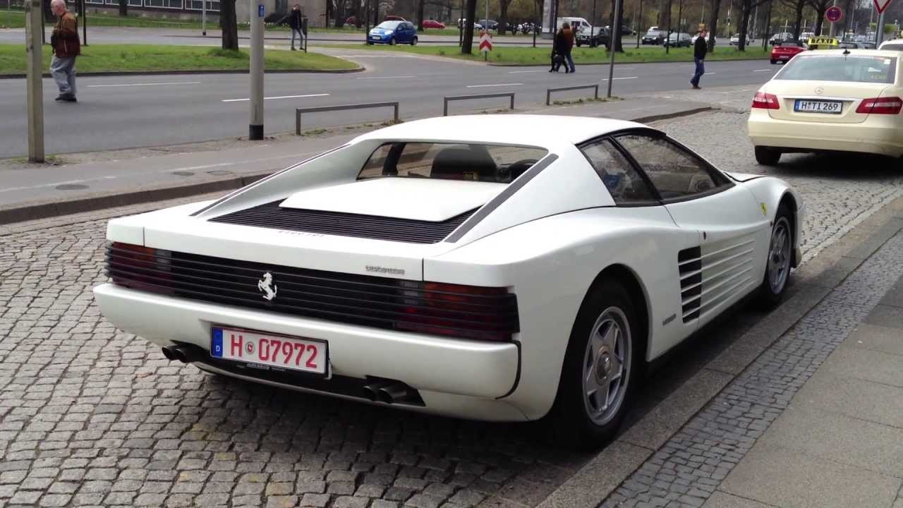 Rare White Ferrari Testarossa With Only One Sidemirror