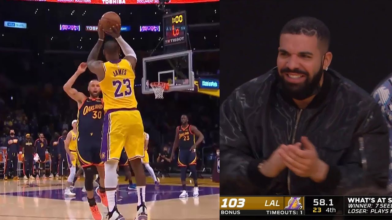 LeBron James hit a logo three over Steph Curry and Drake is impressed👀 GSW vs Lakers