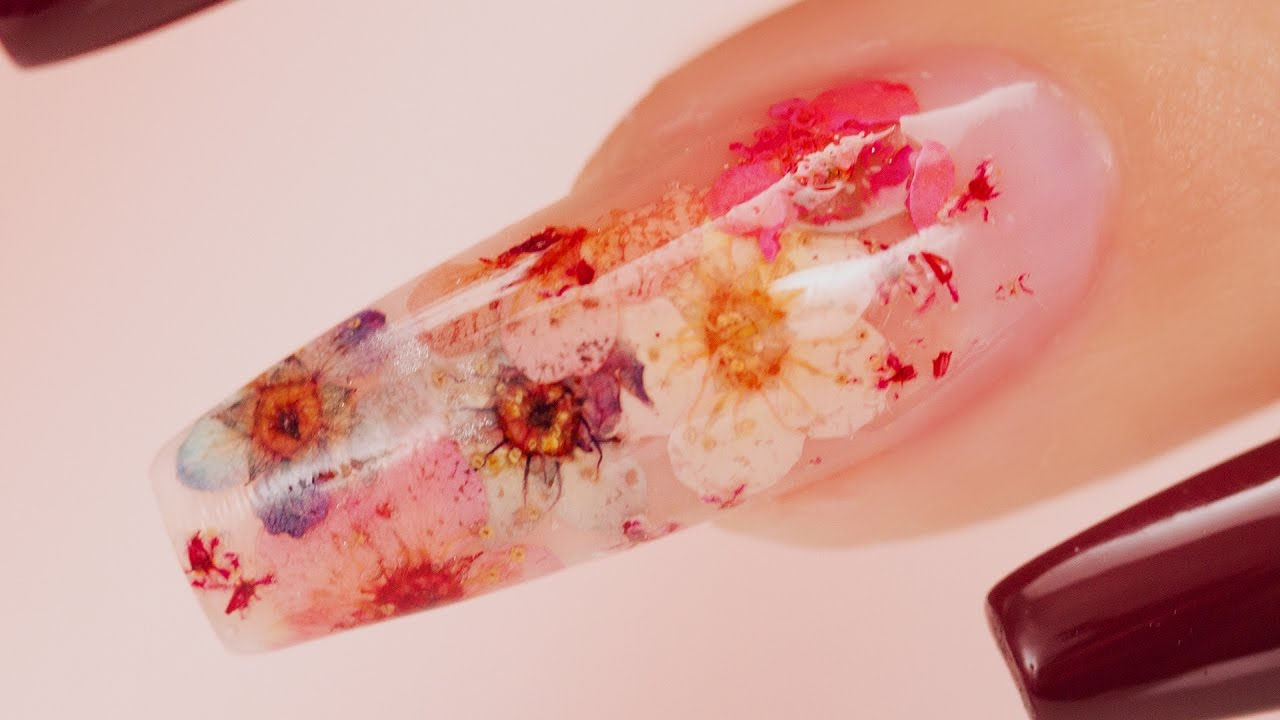 Real flowers inside acrylic coffin nails youtube prinsesfo Gallery