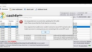 после обновления не запускается Zcash4win 1.0.12   Daemon takes longer than expected RPC Port