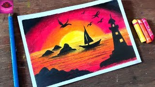 how to draw Lighthouse scenery drawing with Oil Pastels -step by step