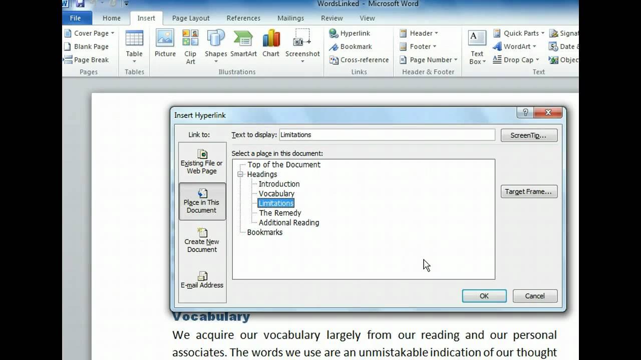 Technology Management Image: Insert And Modify Hyperlinks