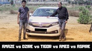 AMAZE VS Competition ,Ft. Ask Car Guru |DZIRE vs AMEO vs TIGOR vs xcent | AMAZE 2018