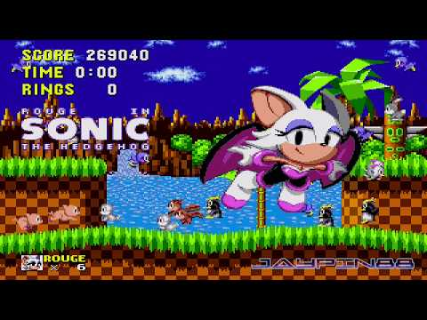 Rouge The Bat in Sonic 1 || First Look Gameplay (720p/60fps)
