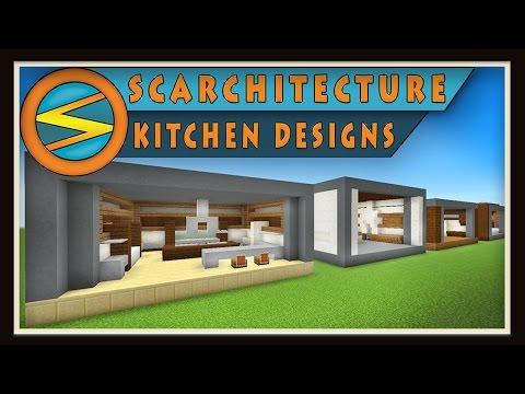 Minecraft Five Modern Kitchen Designs Scarchitecture Ep 1 Youtube