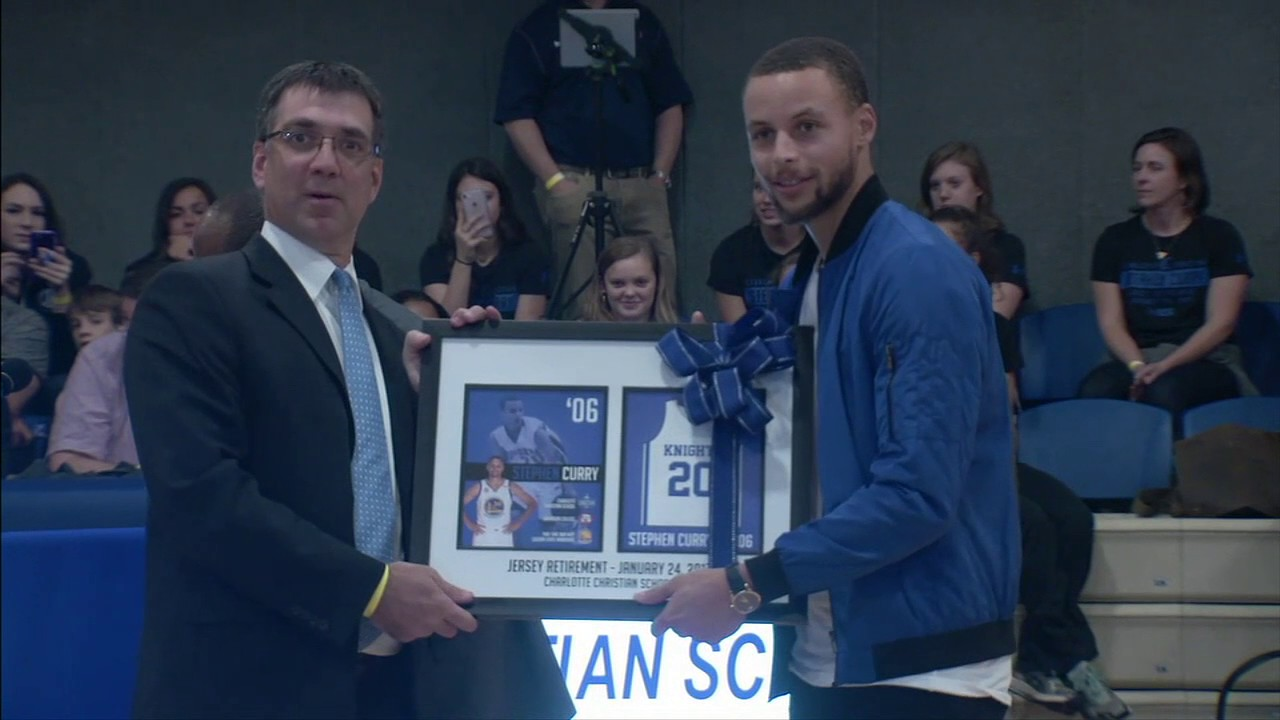 Curry Gets His High School Jersey Retired Youtube