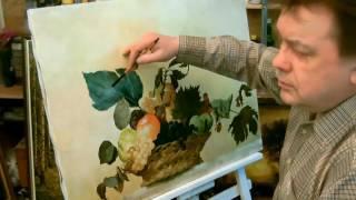 Художник пишет картину маслом на холсте