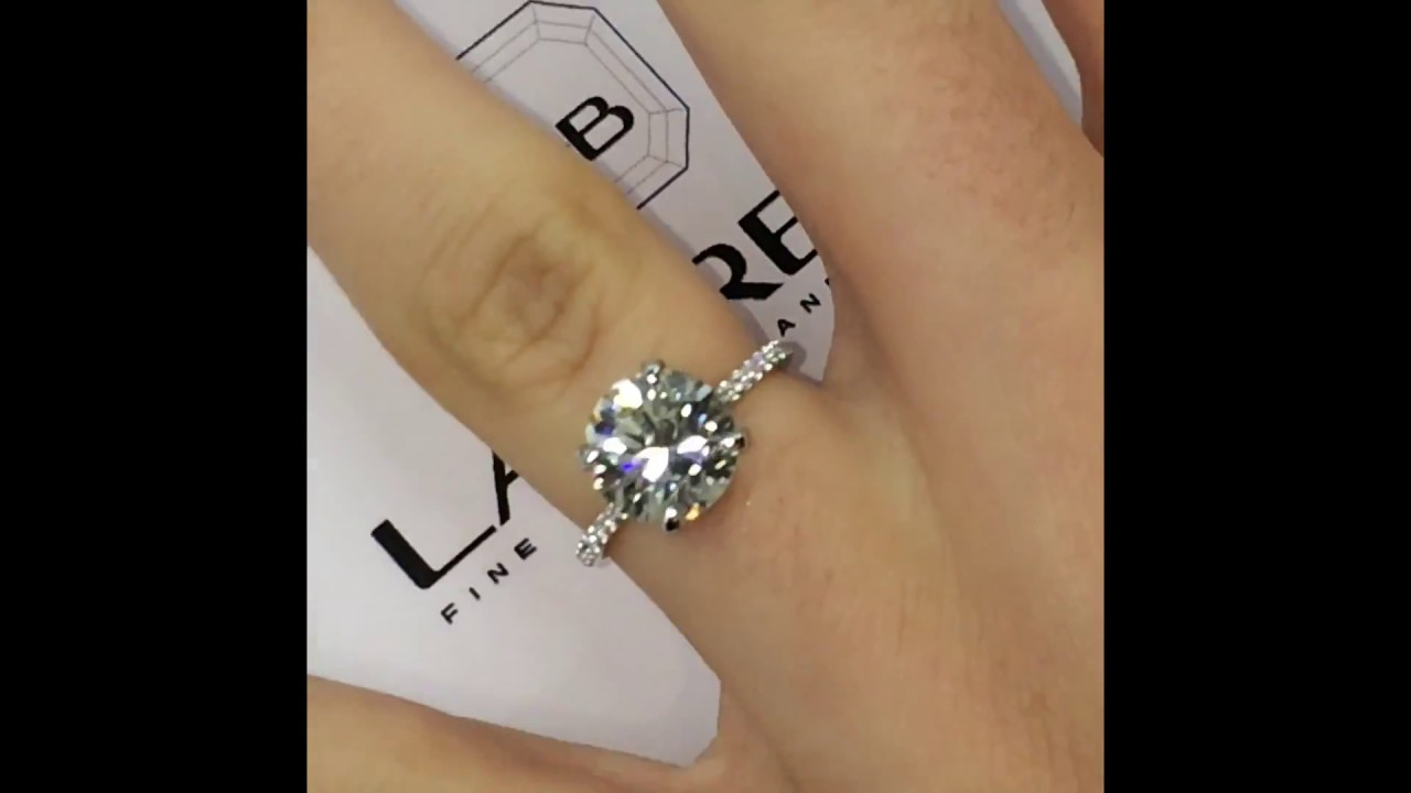3 carat Round Diamond Engagement Ring with a Diamond Scarf Wrap - YouTube