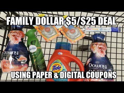 FAMILY DOLLAR $5/$25 DEAL USING PAPER & DIGITAL COUPONS
