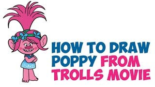 How to Draw Poppy from Trolls Movie Easy Step by Step Drawing Tutorial for Kids