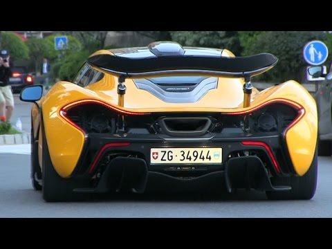 Volcano Yellow McLaren P1 driving in RACE MODE through Monaco