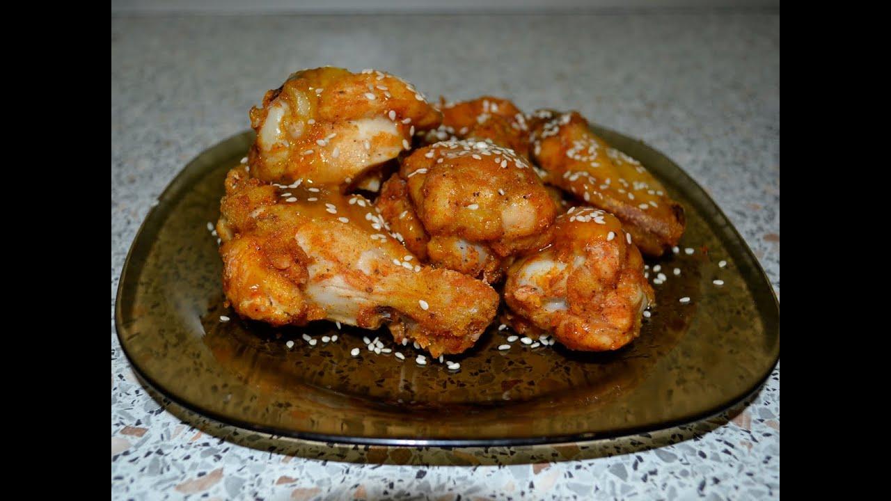 Острые куриные крылья с кунжутом в сладком соусе. Рецепт - YouTube