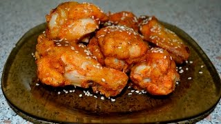 Острые куриные крылья с кунжутом в сладком соусе. Рецепт