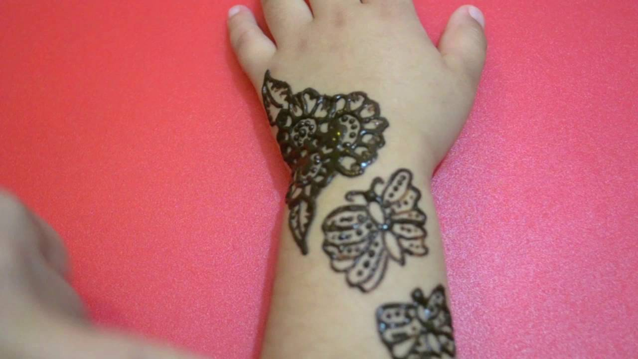 Beautiful Butterflies Henna Tattoos For Little Girls Cute Mehindi Design