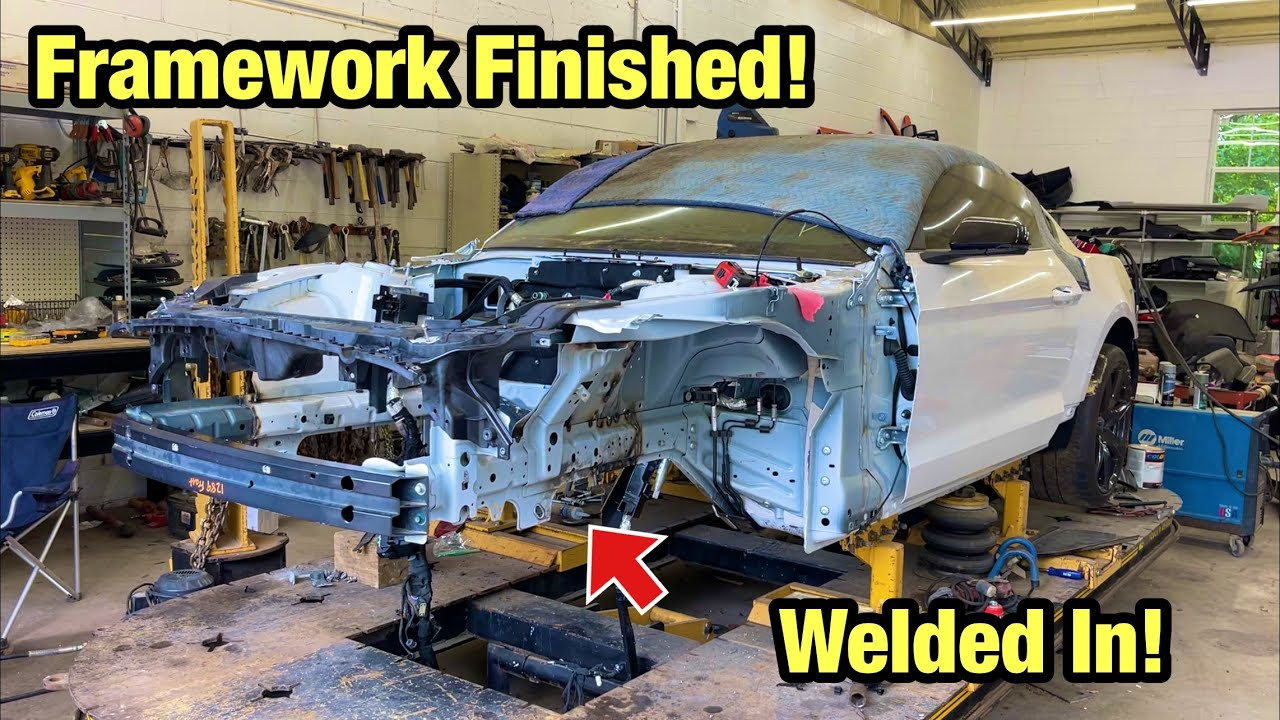 Rebuilding A Totaled Wrecked 2020 Ford Mustang Shelby Gt500 From Salvage Auction Part 13 Framework