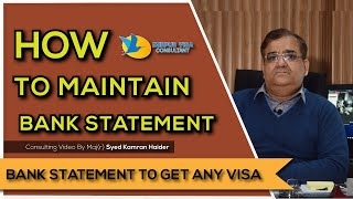 How to maintain a Bank Statement for a Visit or Tourist Visa