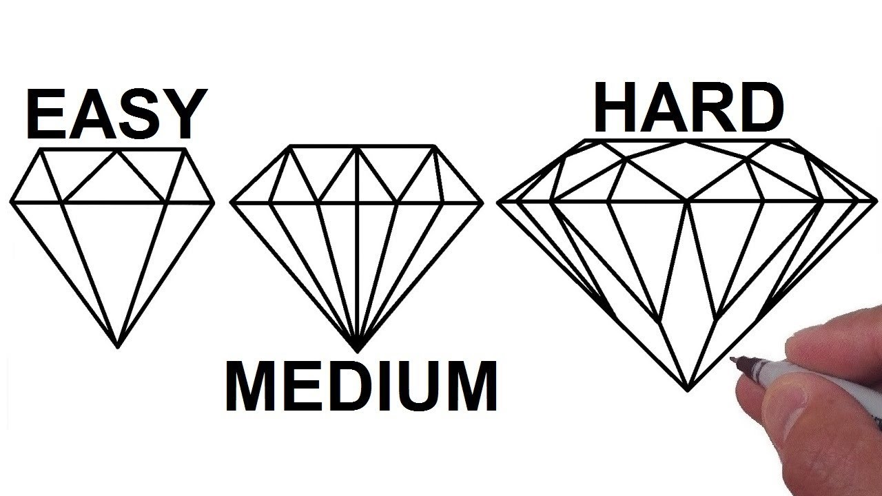 how to draw a diamond in 3 different ways step by step tutorial easy medium hard youtube how to draw a diamond in 3 different ways step by step tutorial easy medium hard