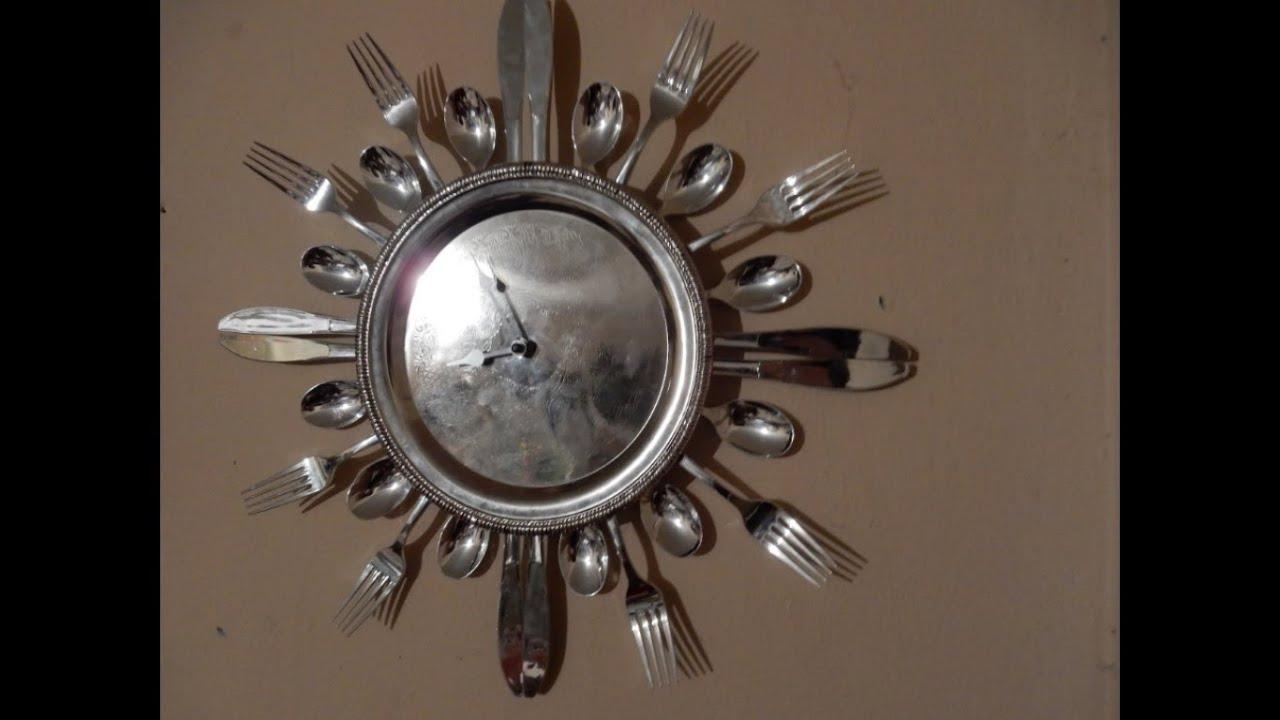 Como hacer un reloj con cubiertos y plato desechable - Relojes para decorar paredes ...