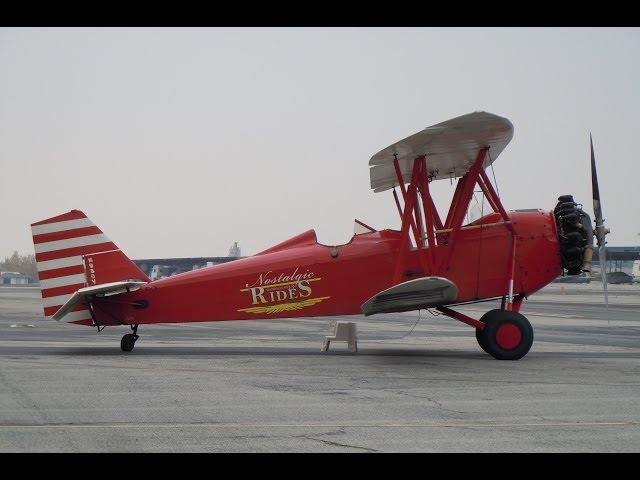 GoPro Flight in 1930 New Standard D-25 Biplane Cable Airport Airshow 01-12-2014