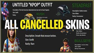 *NEW* ALL THESE SKINS & GLIDERS WERE CANCELLED! *K-Pop, Durr Onesie & More* (Fortnite)