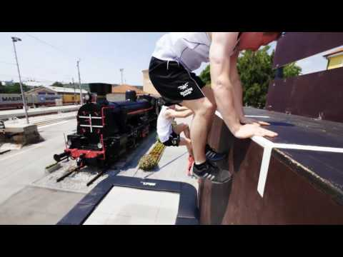 Steam Train Trampoline Wall | Dunking Devils