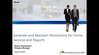 Microsoft Dynamics AX: إنشاء والحفاظ على أذونات خدمات نماذج و تقارير