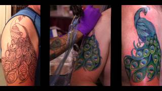 Artist Amy Justen: Tattoo Time-lapse Of Art Deco Peacock Color Session- At Skin Deep Tattoo, Maui