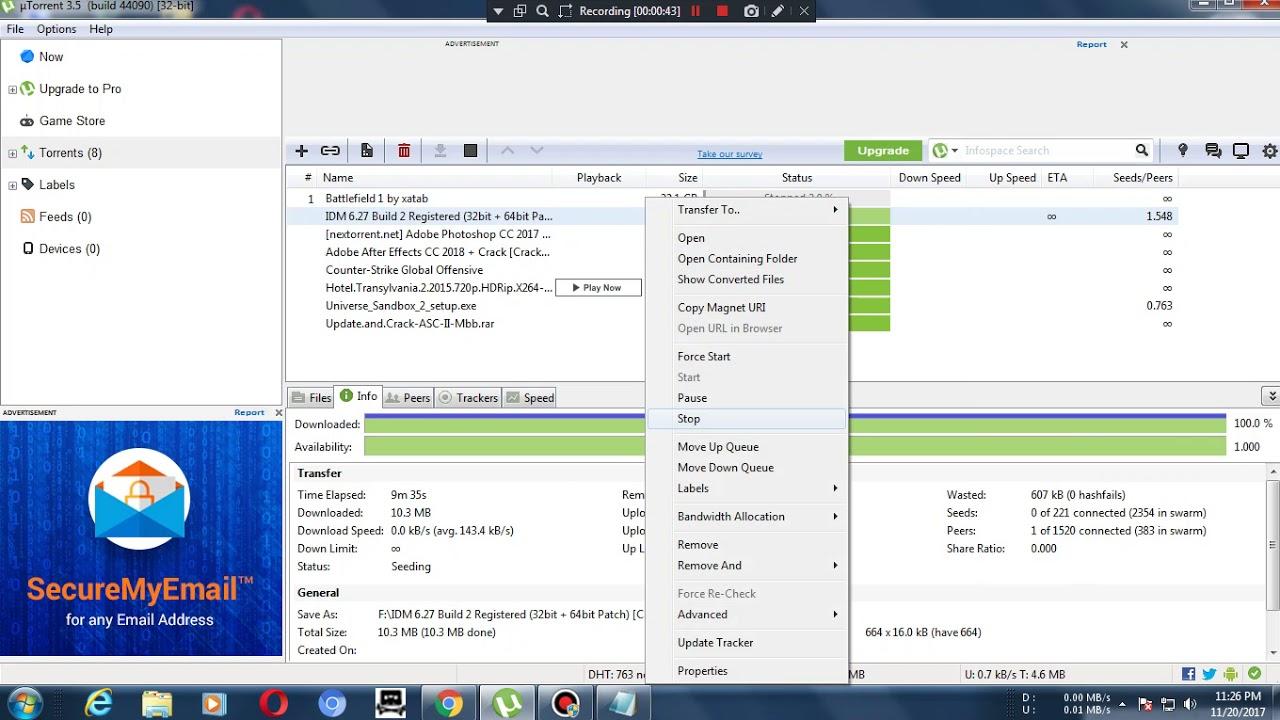 utorrent download problem