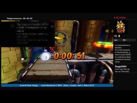 Crash N Sane Trilogy       Crash Bandicoot 2       100% (Story ,Crystal , Gem)    Relics 18/27