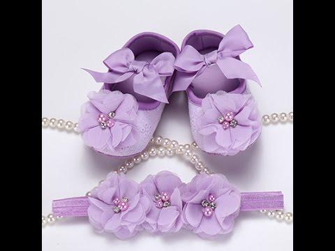 Newborn Baby Girl Shoes Brand  Baby Booties Headband Set,Princess Dance Shoes First Shoe
