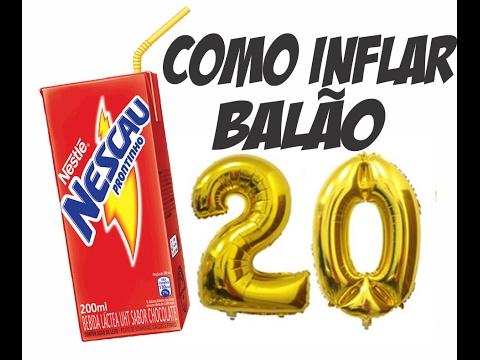 78d4a77c2 Tutorial Como inflar balão metalizado NÚMERO DOURADO com a boca usando  canudo de refrigerante