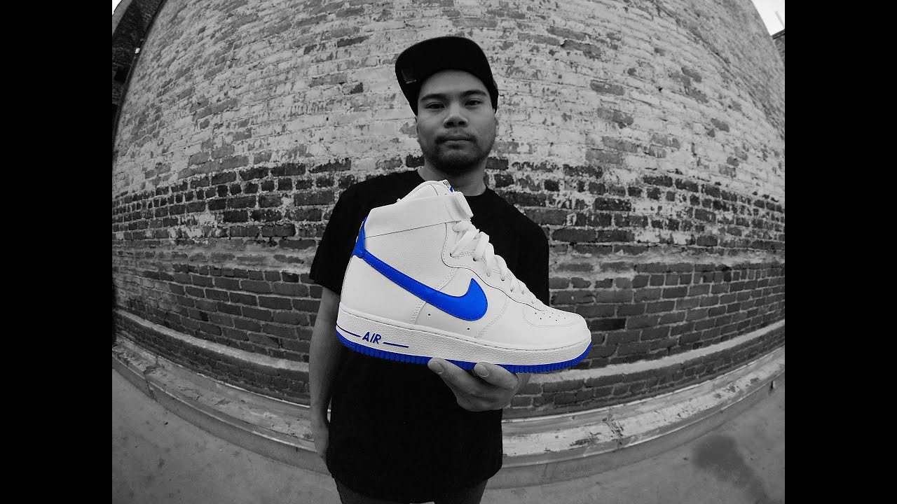 on sale 7852f c613a ... Nike Air Force 1 High Trainers White   Royal Blue Review .