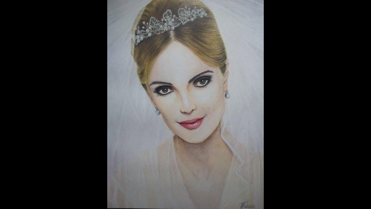 Rostos Desenhos: Desenho Realista Com Lápis De Cor: Retrato De Noiva