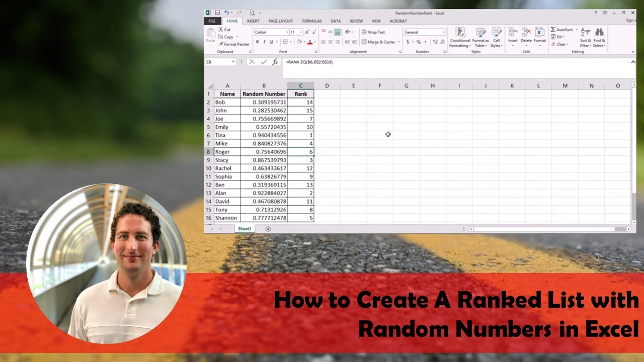 how to select random numbers from a list in excel