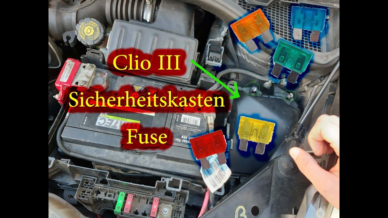 renault clio 3 fuse box , clio 3 sicherheitskasten - youtube  youtube