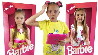 Elina play with mobie dolls by Elina and Julia funny girls