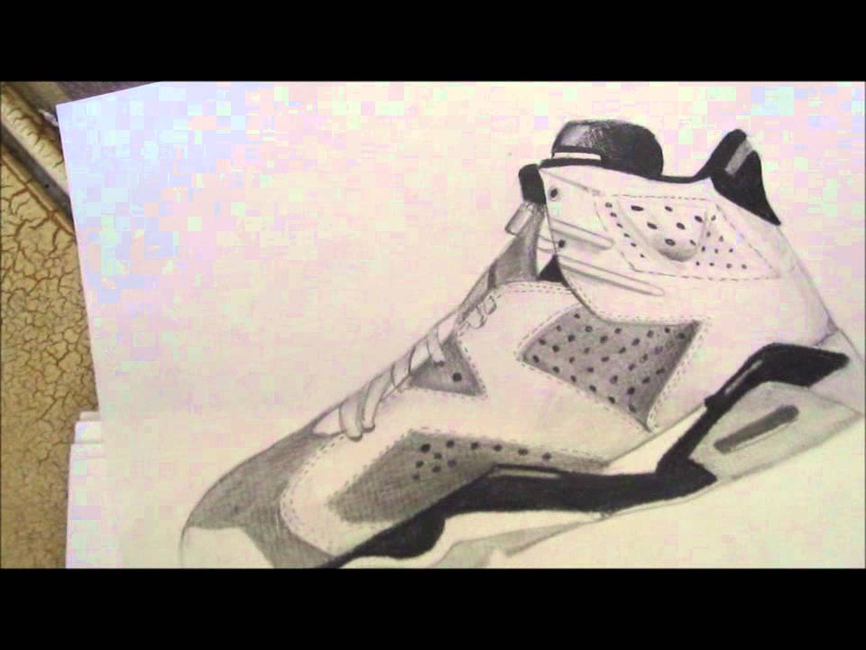 Amazing Hand Drawing Of Jordan Retro 5u00266!!   YouTube