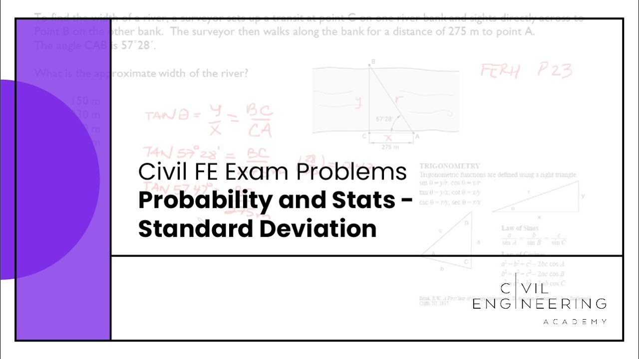 civil fe exam probability and stats standard deviation