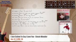 I Just Called To Say I Love You - Stevie Wonder Bass Backing Track with chords and lyrics