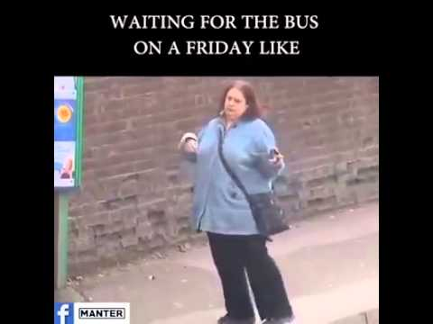 Waiting for the bus on a Friday like