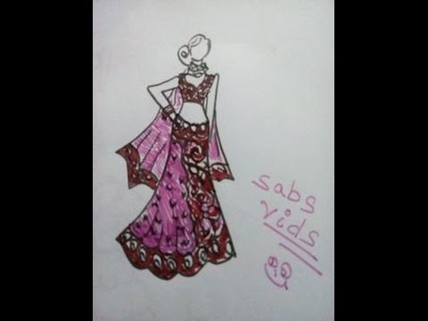 How to draw a wedding dress.(Indian dress). - YouTube