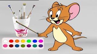 Раскраска для детей.Рисуем и Разукрашиваем мышонка Джерри. Мультик - Раскраска.Учим цвета