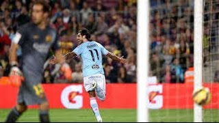 Joaquin Larrivey Gol pase de tacon de Nolito Barcelona 0 vs 1 Celta Vigo 2014  Highlights 1/11/2014