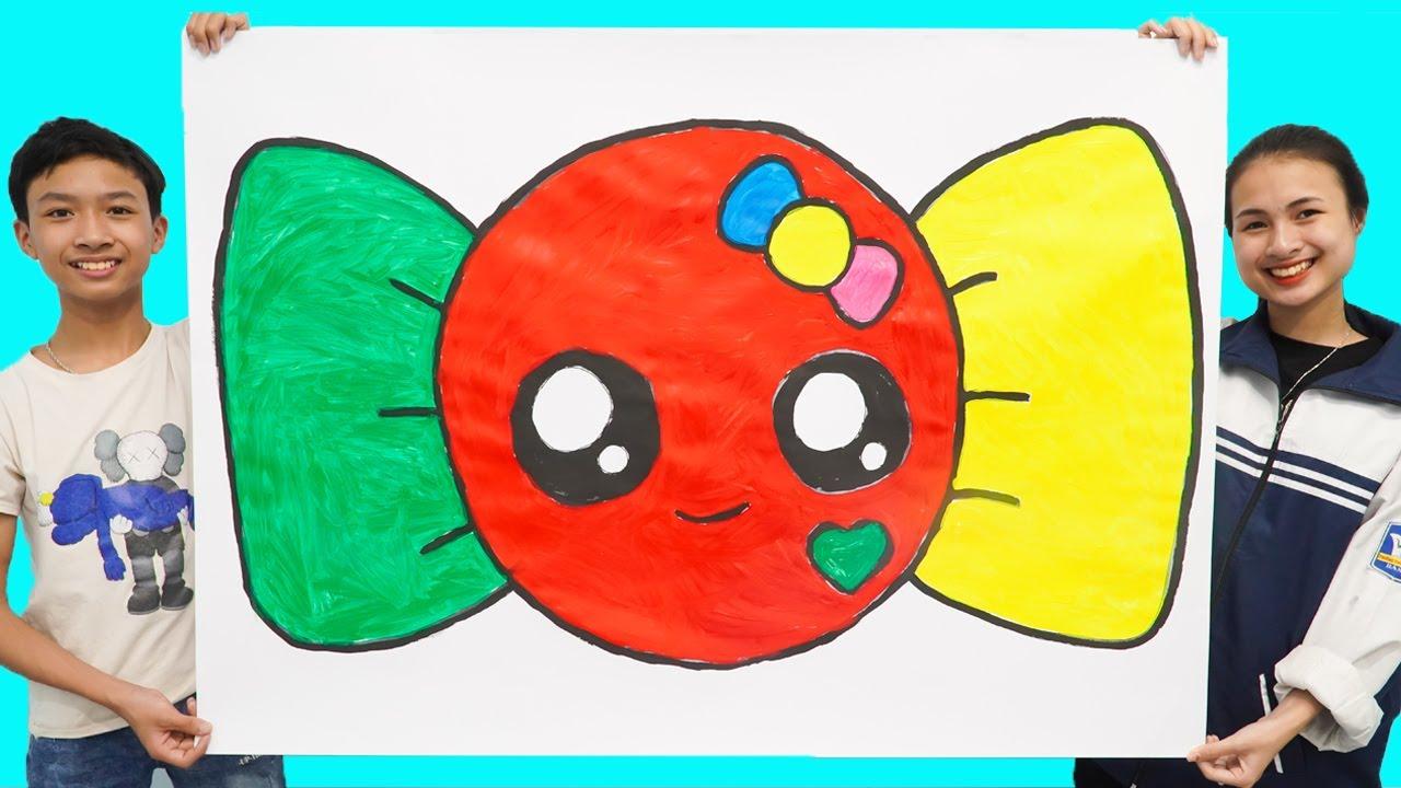 Menggambar dan Mewarnai Permen Raksasa untuk Balita & Anak